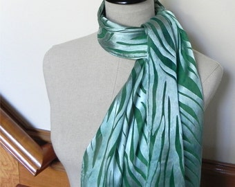 Devore satin silk scarf hand dyed in shades of green, ready to ship, greenery silk scarf #529