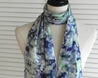Hand dyed silk scarf with fringe in purple and green, long crepe silk scarf, ready to ship