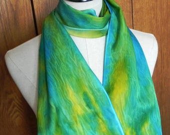Hand painted oblong silk scarf in turquoise blue, green and golden yellow is ready to ship, silk scarf #550