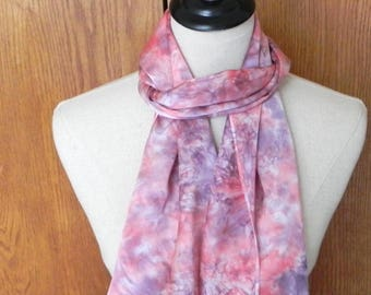 Oblong silk scarf hand dyed in rose pink and plum purple, ready to ship silk scarf #564