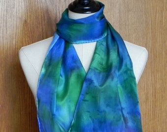 Oblong silk scarf hand dyed in shades of blue and green, ready to ship, crepe silk scarf