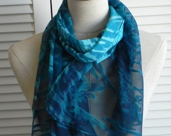Teal blue and turquoise silk scarf hand dyed on Devore satin silk, ready to ship, silk scarf #583