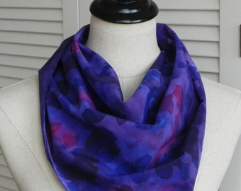 Hand painted square silk scarf in purple and red abstract design, ready to ship