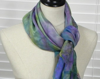 Square silk scarf hand dyed in shades of blue, pink and green, ready to ship