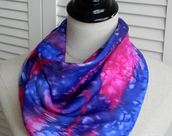 Hand dyed square silk scarf in shades of blue and red with splashes of white, scarf # 615 is ready to ship