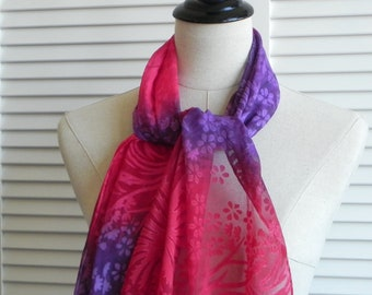 Red & purple violet Devore satin silk scarf hand dyed, floral silk scarf #582, ready to ship