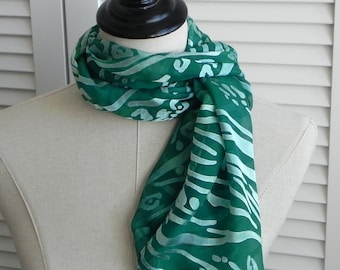 Hand dyed silk scarf of Devore Satin Silk in shades of green, ready to ship