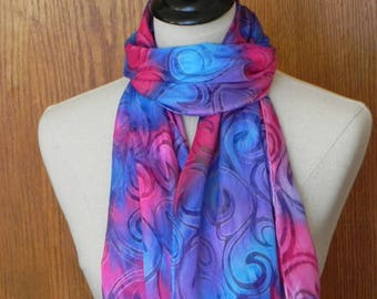 Silk scarf hand dyed in jewel tone shades of red, purple and blue, Devore satin scarf #568 is ready to ship