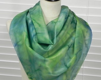 Square silk scarf hand dyed in shades of green and blue, ready to ship