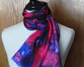 Abstract silk scarf hand dyed in shades of red, blue and merlot, oblong silk scarf #572 is ready to ship