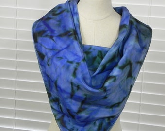Square silk scarf hand dyed in shades of blue and green, ready to ship