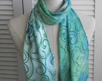 Hand dyed silk scarf of Devore Satin Silk in light shades of blue and green, ready to ship