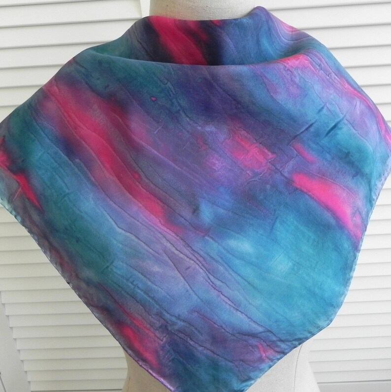 Square silk scarf hand painted in shades of teal blue and red image 0