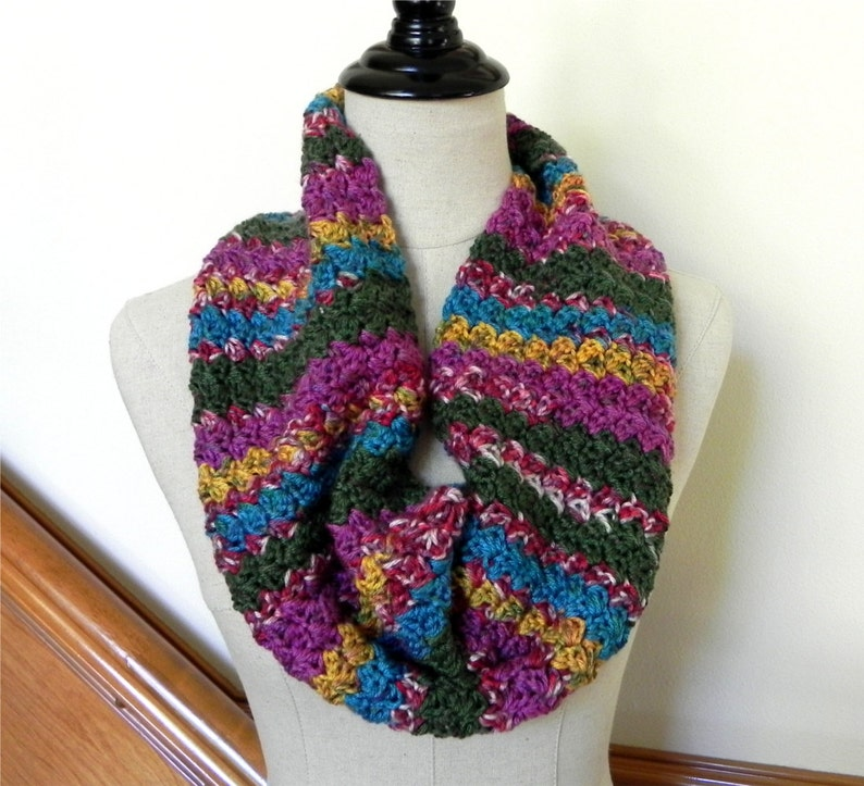 Fiesta infinity scarf multi-color crocheted cowl scarf 481 image 0