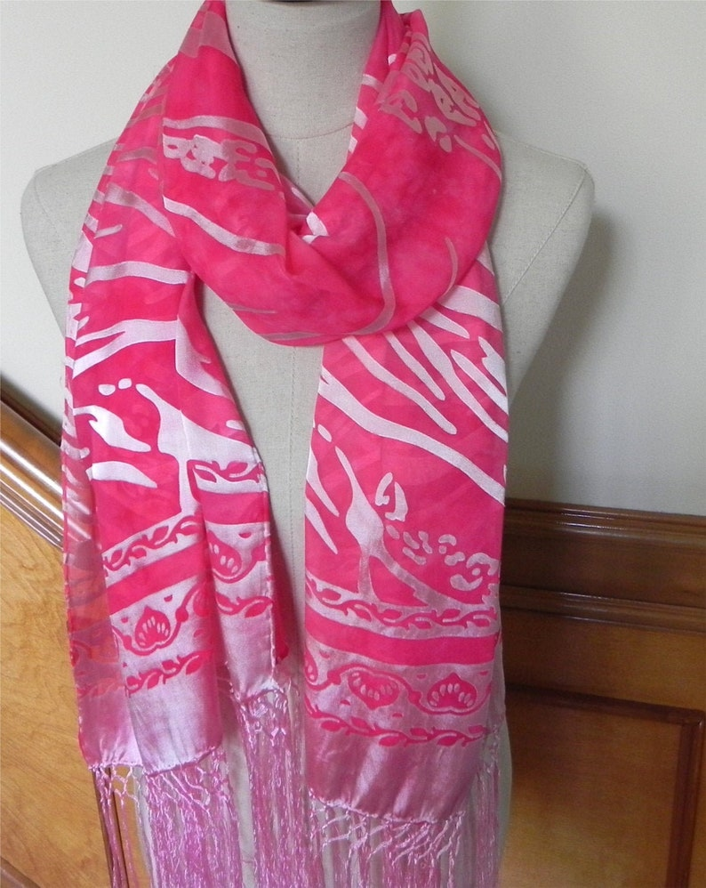 Devore satin shawl with fringe hand dyed in shades of magenta image 0