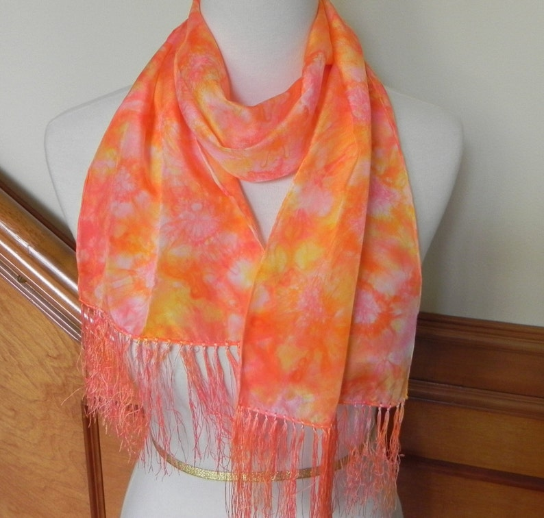 Crepe Silk Scarf with Fringe Hand Dyed Scarlet Pink and image 0