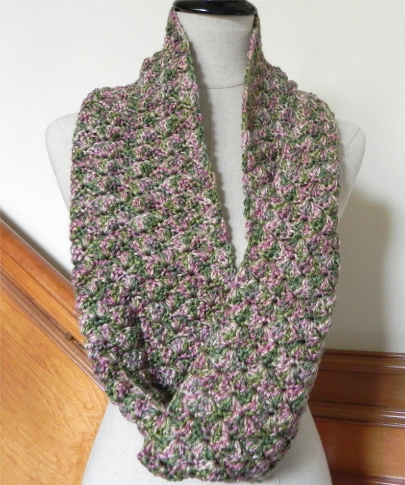 Crochet infinity scarf shades of green pink and golden image 0