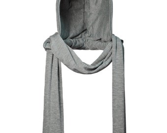 Grey Fall/Winter Attachable Hooded Scarf