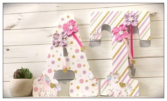 Unicorn Nursery. Bedroom. Girls Room. Pink. Lavender. Mint. Gold. Wall  Letters. Wood Letters.