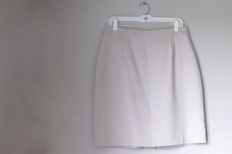 Size 14 Taupe Womens Lined Skirt with Back Slit image 0