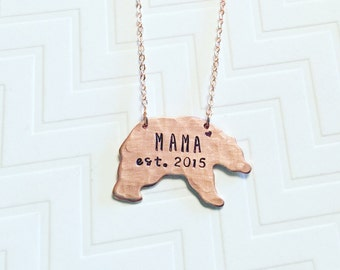 Mama Bear Necklace - Established Year - Hand Stamped - New Mom Gift - Gift For Mom - Mothers Day Gift - Copper Rose Gold - Heart