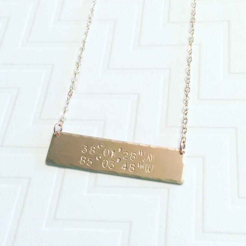 da520289a0c70 Coordinates Necklace GPS Gold Brass Bar Necklace Hand Stamped Personalized