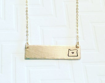 Oregon Necklace - Brass Gold Bar Necklace - Hand Stamped Personalized - State Necklace - Home Necklace