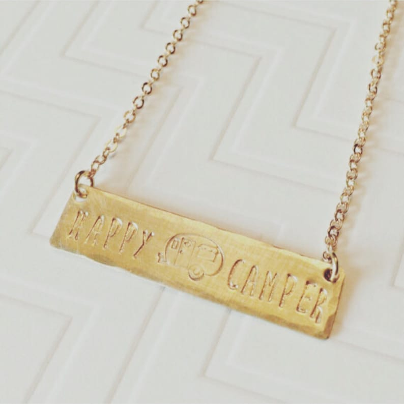 Happy Camper Necklace Hand Stamped Personalized Brass Gold Bar Necklace