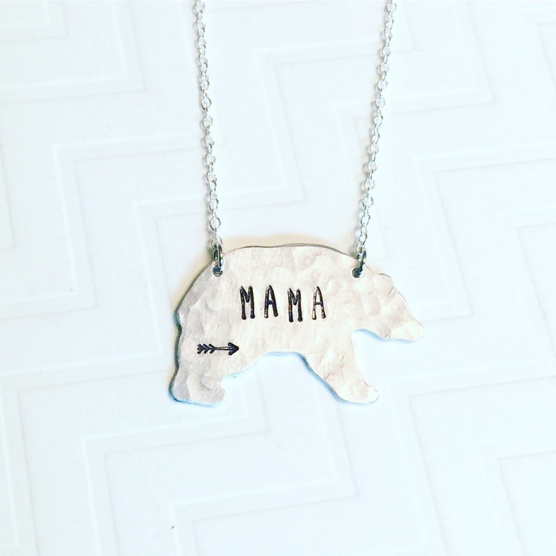 New Mom Gift Silver Bear Gift For Mom Mothers Day Gift Gift For Her Mama Bear Necklace Arrow Hand Stamped Necklace