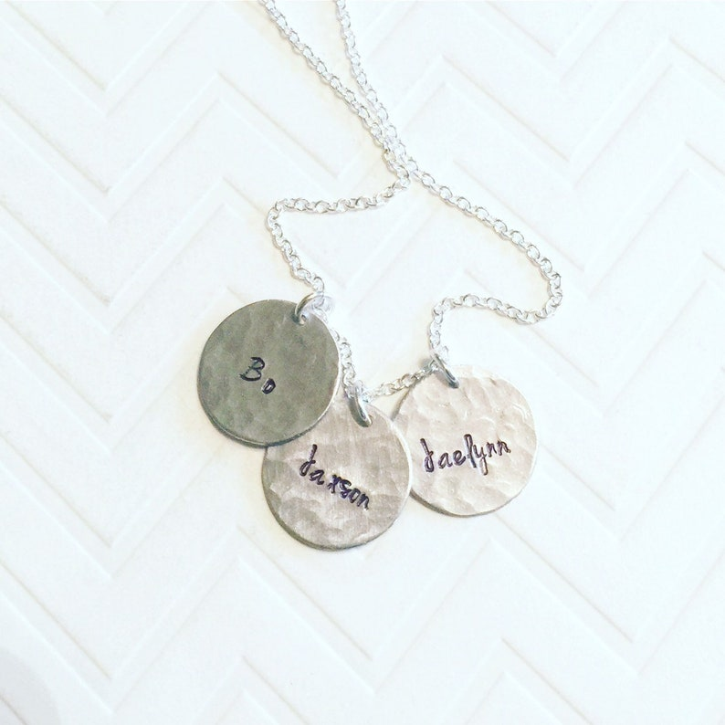 Mother Necklace Silver Circle Necklace Name Necklace Couple Necklace Gift For Her Personalized Necklace Small Disc Necklace
