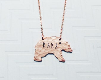 Mama Bear Necklace - Hand Stamped Necklace - Gift For Mom - Gift For Her - Mothers Day Gift - Copper Rose Gold Bear - Heart