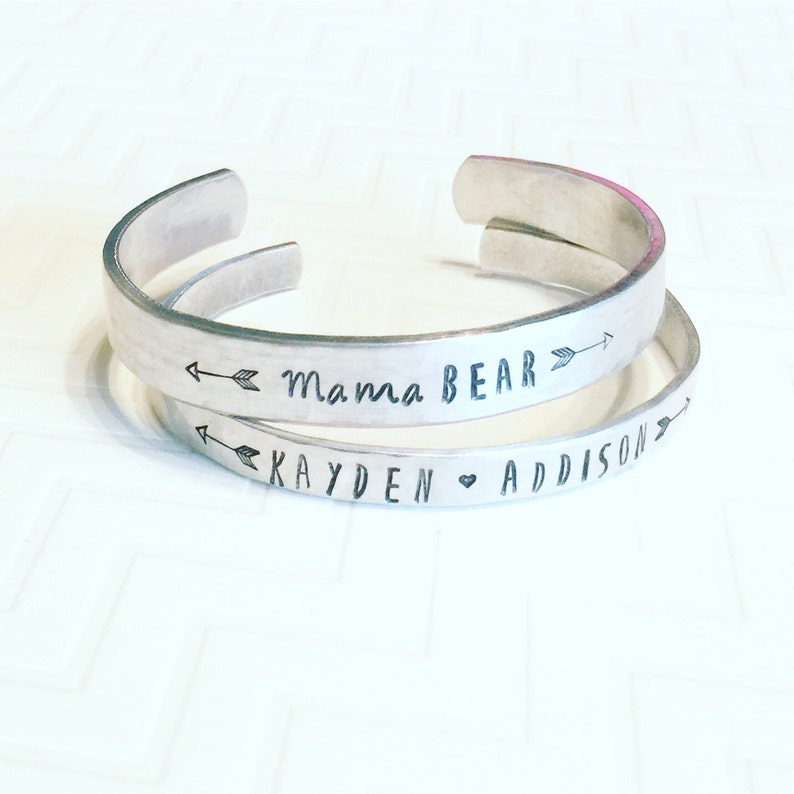 Personalized Bangle Bracelet Stackable Name Bracelet Gift Hand Stamped