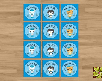INSTANT DOWNLOAD - Printable Octonaut Stickers or Gift Tags (Great to be used as Party Favor Tags or even Cupcake Toppers)