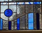 Modern Blue Stained Glass Wave - 112