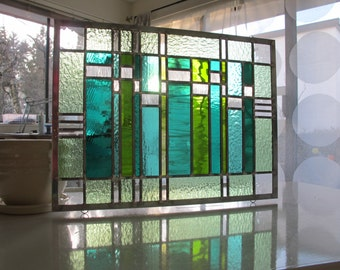 Stained Glass Modern Abstract Greens and Blues