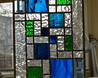 Stained Glass Blue and Green Modern
