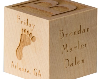 Personalized Baby Block | Wooden Baby Block | Unique Baby Gift | Twin Baby Gift | New Parents Gift | Personalized Baby Block