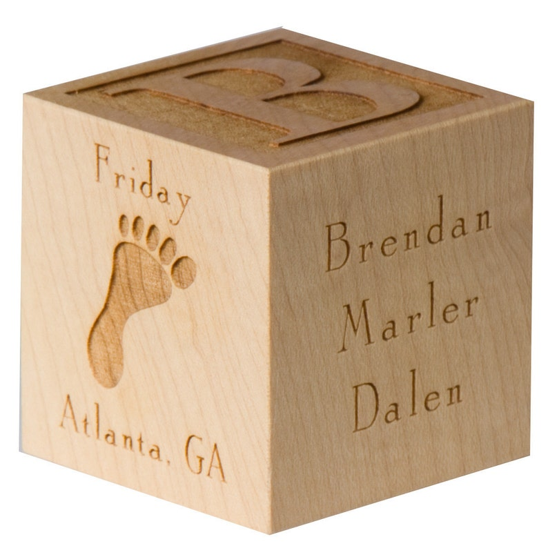 Personalized Baby Block  Wooden Baby Block  Unique Baby Gift image 0