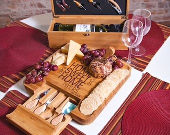Personalized Wine and Cheese Board | Mother's Day Gift | Newlywed Gift | 5th Anniversary Gift | Wine Lover Gift | Realtor Gifts