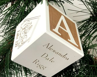 Baby's First Christmas Ornament | Baby's 1st Christmas Gift | Personalized Baby Christmas Ornament | New Baby Ornament | Baby Name Blocks