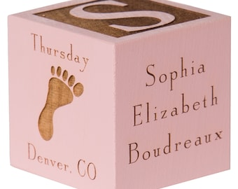 Baby Girl Gift   Gift for Newborn   Wooden Baby Block   Twin Girls   Baby Decor   Personalized Baby Block   Adoption Gifts