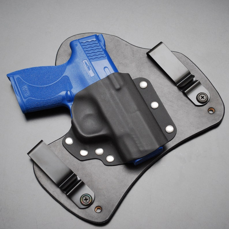 SHIELD 45 ACP Black Leather Kydex Hybrid Gun Holster Smith and Wesson IWB