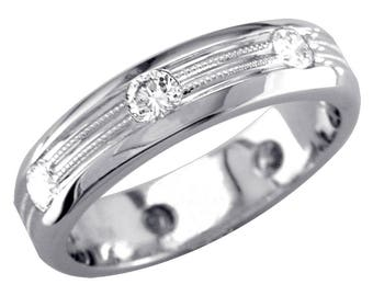 Mens Domed Diamond Wedding Band with 2 Rows of Millgrain, 1.00CT in 14k White Gold