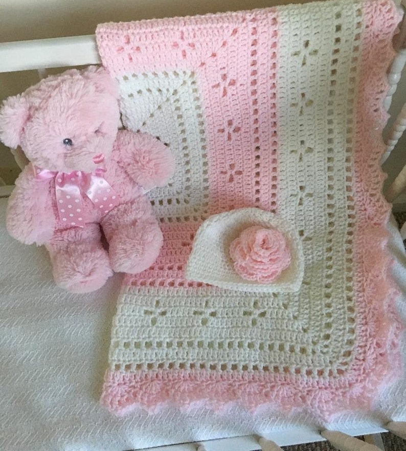 Handmade crochet baby girl pink blanket what