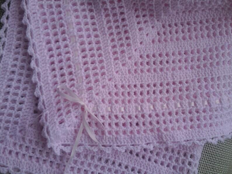 Crochet delicate pink lacy baby girl blanket 31 x 31