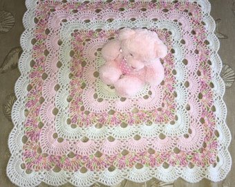 Crochet delicate pink and white baby girl blanket