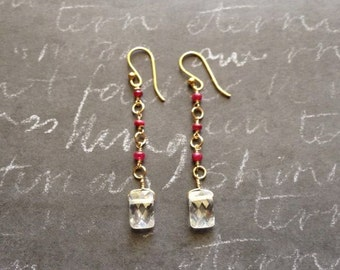 Gold Filled Ruby Earrings with CZ Drop