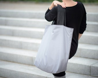 Oversized shopping bag, waterproof bag, double sided bag, two-sided tote bag, packable bag, shopping bag, colourful bag,  black grey