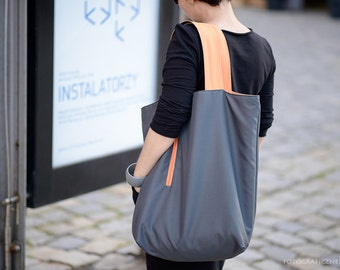 gray orange shopper bag for vegan, huge waterproof tote bag for beach