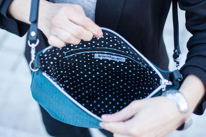 turquoise handbag blue canvas bag leather strap small crossbody bag zippered bag